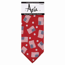 Aria Paws N' Stripes Forever Bandana For Pets Red