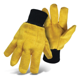 Boss Cotton Flannel Yellow Chore Glove Large