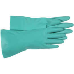 Boss Home N' Yard Nitrile Glove with Gauntlet Cuff Green Large