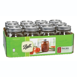 Ball 1 Pt Regular Mouth Mason Jars with Lids 12 Pack