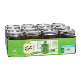Ball Wide Mouth Mason Jars with Lids 1pt 12 Pack