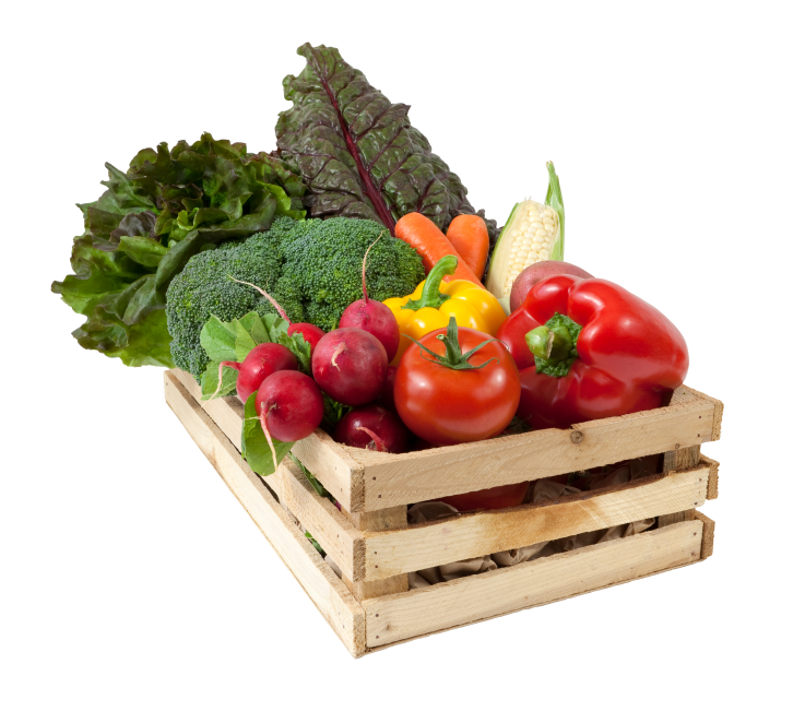 A box of fresh garden vegetables