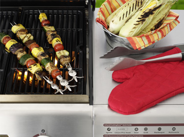 Kabobs and corn on the gas grill